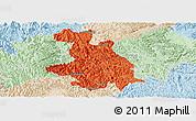 Political Panoramic Map of Donglan, lighten