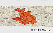 Political Panoramic Map of Donglan, shaded relief outside