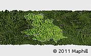 Satellite Panoramic Map of Donglan, darken