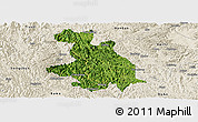 Satellite Panoramic Map of Donglan, shaded relief outside