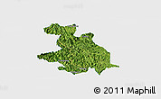 Satellite Panoramic Map of Donglan, single color outside
