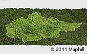 Satellite Panoramic Map of Du An, darken