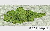 Satellite Panoramic Map of Du An, lighten