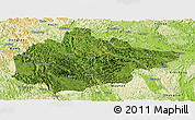Satellite Panoramic Map of Du An, physical outside