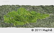 Satellite Panoramic Map of Du An, semi-desaturated