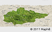 Satellite Panoramic Map of Du An, shaded relief outside