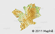 Physical 3D Map of Fengshan, single color outside