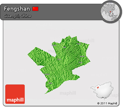 Political 3D Map of Fengshan, cropped outside