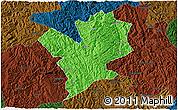 Political 3D Map of Fengshan, darken