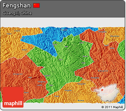 Political 3D Map of Fengshan