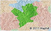 Political 3D Map of Fengshan, lighten