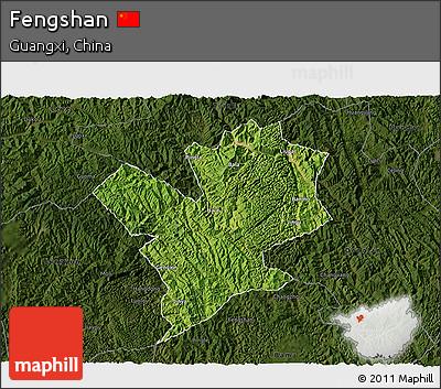Satellite 3D Map of Fengshan, darken