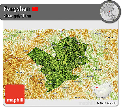 Satellite 3D Map of Fengshan, physical outside