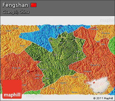 Satellite 3D Map of Fengshan, political outside