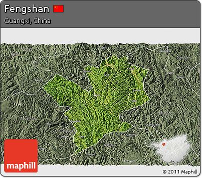 Satellite 3D Map of Fengshan, semi-desaturated