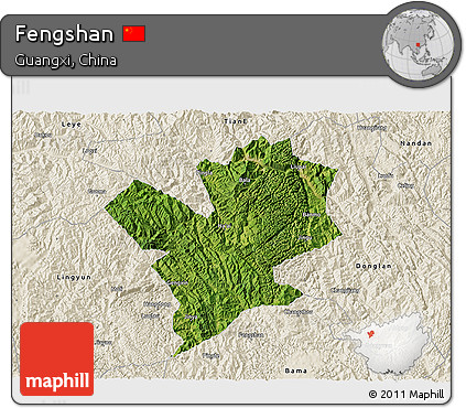 Satellite 3D Map of Fengshan, shaded relief outside