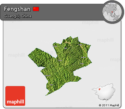 Satellite 3D Map of Fengshan, single color outside