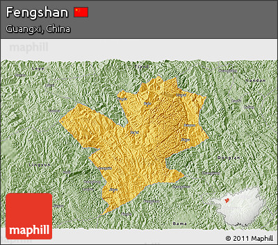Savanna Style 3D Map of Fengshan
