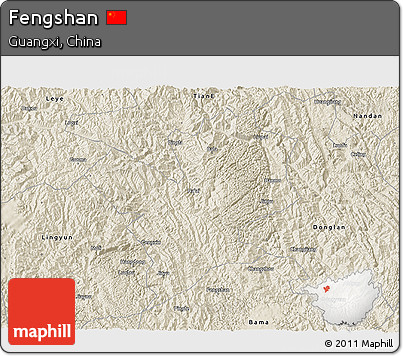Shaded Relief 3D Map of Fengshan
