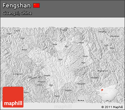 Silver Style 3D Map of Fengshan