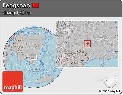 Gray Location Map of Fengshan, hill shading