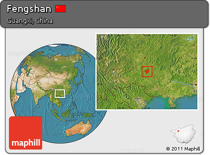 Satellite Location Map of Fengshan