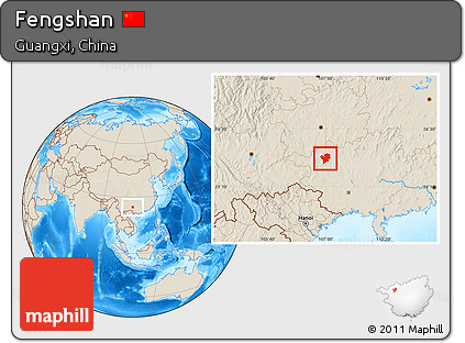 Shaded Relief Location Map of Fengshan