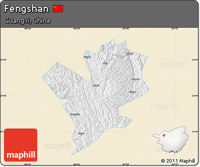 Classic Style Map of Fengshan, single color outside