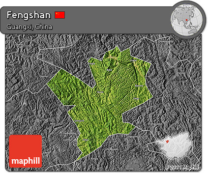 Satellite Map of Fengshan, desaturated