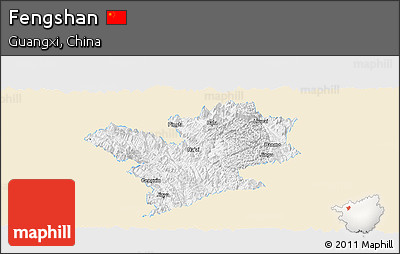 Classic Style Panoramic Map of Fengshan, single color outside