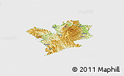Physical Panoramic Map of Fengshan, single color outside