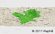 Political Panoramic Map of Fengshan, shaded relief outside