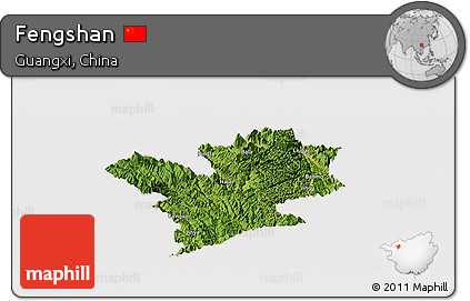 Satellite Panoramic Map of Fengshan, cropped outside