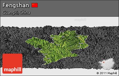 Satellite Panoramic Map of Fengshan, darken, desaturated