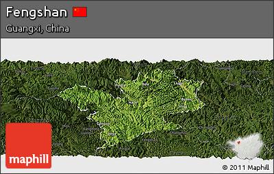 Satellite Panoramic Map of Fengshan, darken