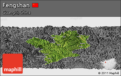 Satellite Panoramic Map of Fengshan, desaturated
