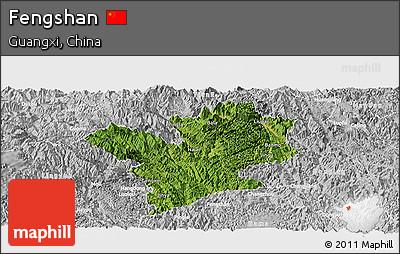 Satellite Panoramic Map of Fengshan, lighten, desaturated