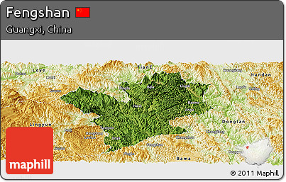 Satellite Panoramic Map of Fengshan, physical outside