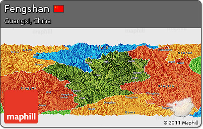 Satellite Panoramic Map of Fengshan, political outside