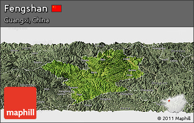 Satellite Panoramic Map of Fengshan, semi-desaturated