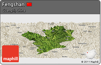 Satellite Panoramic Map of Fengshan, shaded relief outside