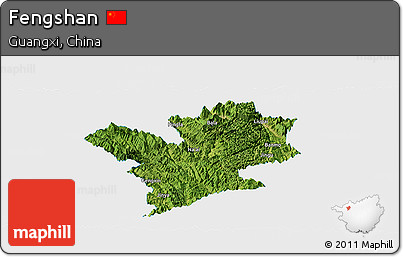 Satellite Panoramic Map of Fengshan, single color outside
