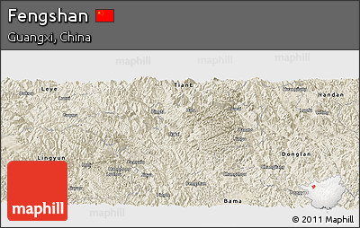 Shaded Relief Panoramic Map of Fengshan