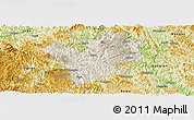 Shaded Relief Panoramic Map of Fengshan, physical outside