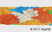 Shaded Relief Panoramic Map of Fengshan, political outside
