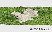 Shaded Relief Panoramic Map of Fengshan, satellite outside