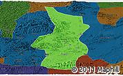 Political Panoramic Map of Fusui, darken