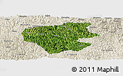 Satellite Panoramic Map of Leye, shaded relief outside