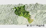 Satellite Panoramic Map of Lingui, lighten