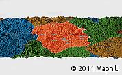 Political Panoramic Map of Lingyun, darken